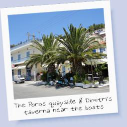 The quayside at Poros and Dimitri's taverna...flotilla planning HQ!