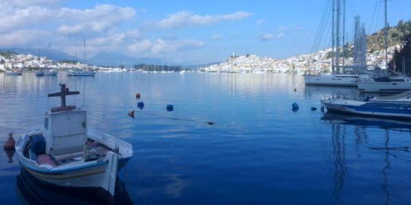 Looking towards Poros town and the Greek Sails quay