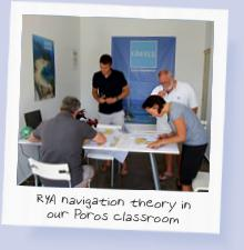 RYA navigation theory being taight in our Poros classroom