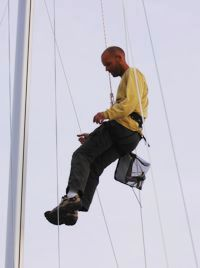 Andreas Kouvaras show's how it's really done, by checking the rigging on a Greek Sails yacht