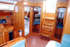 View of the Bavaria 50 Cruiser companionway and �nav station�