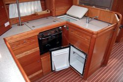 The galley of the Bavaria 50 Cruiser sailing yacht