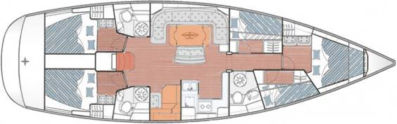 The Jeanneau Bavaria 50 Cruiser internal layout. Image courtesey of Bavaria Yachtbau GmbH