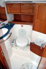 One of thehe main cabin toilet/wc (heads) of the Bavaria 50 Cruiser sailing yacht