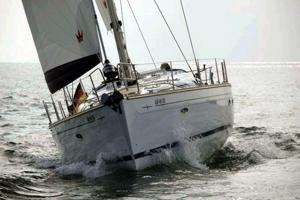 A Bavaria 50 Cruiser sailing yacht under sail and as available for flotilla sailing holidays and bareboat charter from Greek Sails in Poros, Greece. Image courtesey of Bavaria Yachtbau GmbH