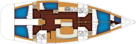 The Beneteau Cyclades 50.5 internal layout.  Image courtesey & with permission of Beneteau S.A.