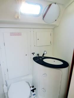 The main cabin toilet/wc (heads) of the Beneteau Cyclades 50.5 sailing yacht