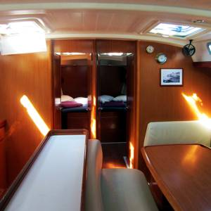 The large and spacious main saloon of the Cyclades 50.5