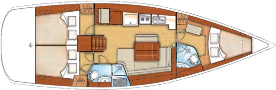 The Beneteau Oceanis 43 internal layout. Image courtesey & with permission of Chantiers Jeanneau S.A.
