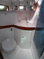 The main cabin toilet/wc/shower room (heads) of the Beneteau Oceanis 43 sailing yacht. Image courtesey & with permission of Chantiers Jeanneau S.A.