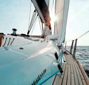 The Greek Sails' Beneteau Oceanis 43 has teak decks. Image courtesey & with permission of Beneteau S.A.