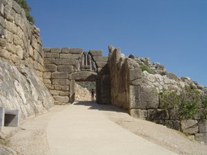 The entrance to the ruins of the Citadel at Mycenae, Peloponnese, Greece