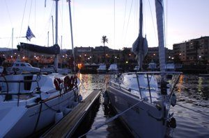 Moored-up for the evening after a beautiful day's sailing with Greek Sails