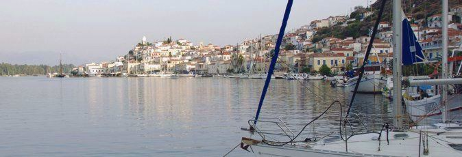 Looking to the west along the southern channel from the Greek Sails quay towards Poros town