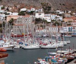 Yachts jostle for sapce in Hydra's popular harbour