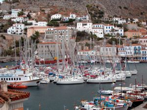 The busy harbour on the popular island of Hydra where vehicles are banned