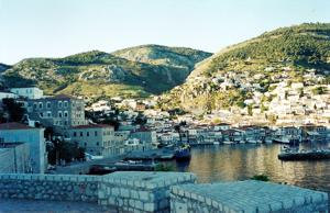 The harbour on the popular island of Hydra, Peloponnese, Greece