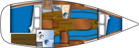 The Jeanneau Sun Odyssey 29.2 internal layout. Image courtesey & with permission of Chantiers Jeanneau S.A.