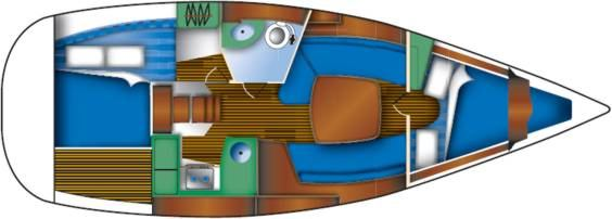 The Jeanneau Sun Odyssey 32 internal layout. Image courtesey & with permission of Chantiers Jeanneau S.A.