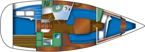 The Jeanneau Sun Odyssey 32i internal layout. Image courtesey & with permission of Chantiers Jeanneau S.A.