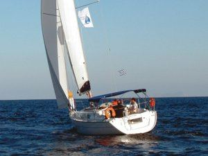A Greek Sails Jeanneau Sun Odyssey 32i sailing yacht �goose winging� during a flotilla sailing holiday
