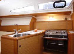 The galley of the Jeanneau Sun Odyssey 33i sailing yacht. Image courtesey & with permission of Chantiers Jeanneau S.A.