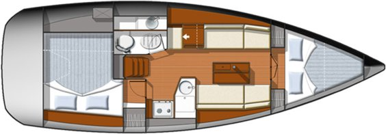 The Jeanneau Sun Odyssey 33i internal layout. Image courtesey & with permission of Chantiers Jeanneau S.A.