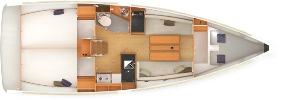 The Jeanneau Sun Odyssey 349 internal layout. Image courtesey & with permission of Chantiers Jeanneau S.A.