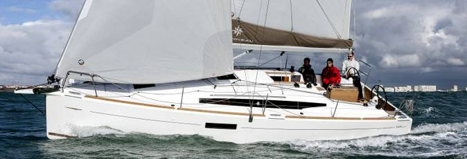 Jeanneau Sun Odyssey 349 sailing yacht available from Greek Sails for flotilla & bareboat charter from Poros, Greece. Image courtesey & with permission of Chantiers Jeanneau S.A.