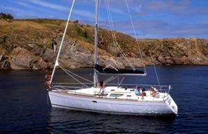 A Jeanneau Sun Odyssey 35 sailing yacht at anchor