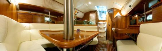The Jeanneau Sun Odyssey 35 main cabin. Image courtesey & with permission of Chantiers Jeanneau S.A.