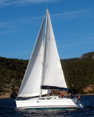 A Greek Sails Jeanneau Sun Odyssey 35 sailing yacht underway