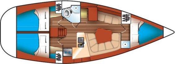 The Jeanneau Sun Odyssey 36.2 internal layout. Image courtesey & with permission of Chantiers Jeanneau S.A.