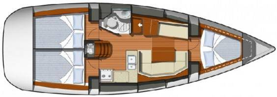 The Jeanneau Sun Odyssey 36i internal layout. Image courtesey & with permission of Chantiers Jeanneau S.A.