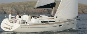 A Sun Odyssey 36i sailing yacht available for flotilla sailing holidays and bareboat charter from Greek Sails in Poros, Greece. Image courtesey & with permission of Chantiers Jeanneau S.A.