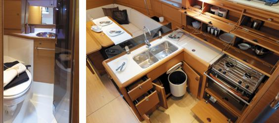 The toilet/wc (heads) of the Jeanneau Sun Odyssey 389 sailing yacht. Image courtesey & with permission of Chantiers Jeanneau S.A.