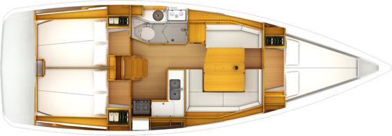 The Jeanneau Sun Odyssey 389 internal layout. Image courtesey & with permission of Chantiers Jeanneau S.A.