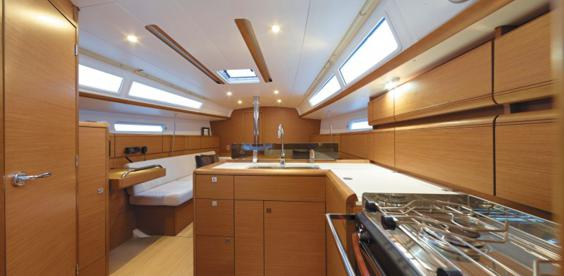 The Jeanneau Sun Odyssey 389 main cabin. Image courtesey & with permission of Chantiers Jeanneau S.A.