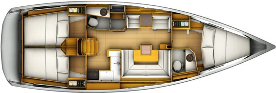 The Jeanneau Sun Odyssey 409 internal layout. Image courtesey & with permission of Chantiers Jeanneau S.A.