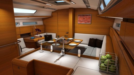 The Jeanneau Sun Odyssey 409 main saloon. Image courtesey & with permission of Chantiers Jeanneau S.A.