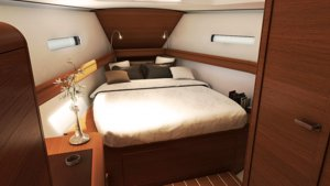 The Sun Odyssey 439 has a large forepeak cabin with en suite heads (toilet & shower)