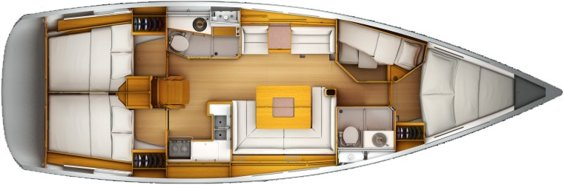 The Jeanneau Sun Odyssey 439 internal layout. Image courtesey & with permission of Chantiers Jeanneau S.A.