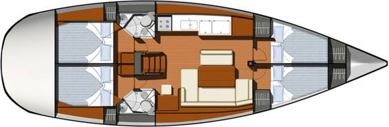 The Jeanneau Sun Odyssey 44i internal layout. Image courtesey & with permission of Chantiers Jeanneau S.A.