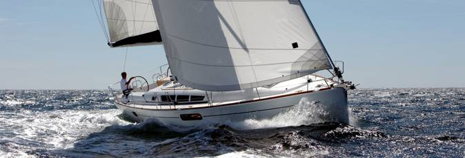 Jeanneau Sun Oddysey 44i sailing yacht available from Greek Sails for flotilla & bareboat charter from Poros, Greece. Image courtesey & with permission of Chantiers Jeanneau S.A.
