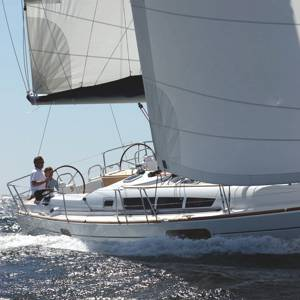 A Sun Odyssey 44i sailing yacht available for flotilla sailing holidays and bareboat charter from Greek Sails in Poros, Greece. Image courtesey & with permission of Chantiers Jeanneau S.A.