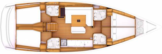 The Jeanneau Sun Odyssey 469 internal layout. Image courtesey & with permission of Chantiers Jeanneau S.A.