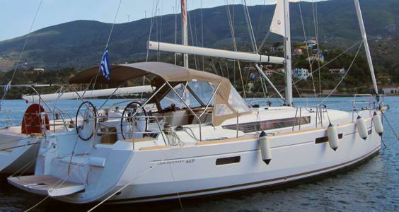 A Greek Sails Jeanneau Sun Odyssey 469 on our quayside in Poros