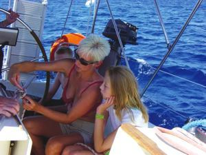 All the family can learn to sail - including the kids! Learning to tie a clove hitch during a flotilla sailing holiday with Greek Sails