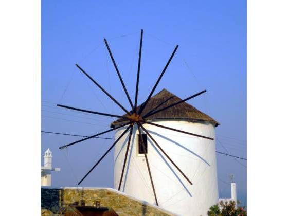 Sailing holiday locations in Greece: A classic Greek windmill behind the chora, Nísos Sérifos