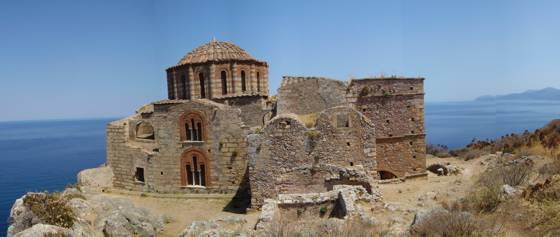 Sailing holiday locations in Greece: The church of áyia Sofia which sits on the top of the plateau of Monemvasia